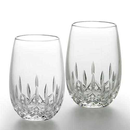 crystal stemless wine glasses usa